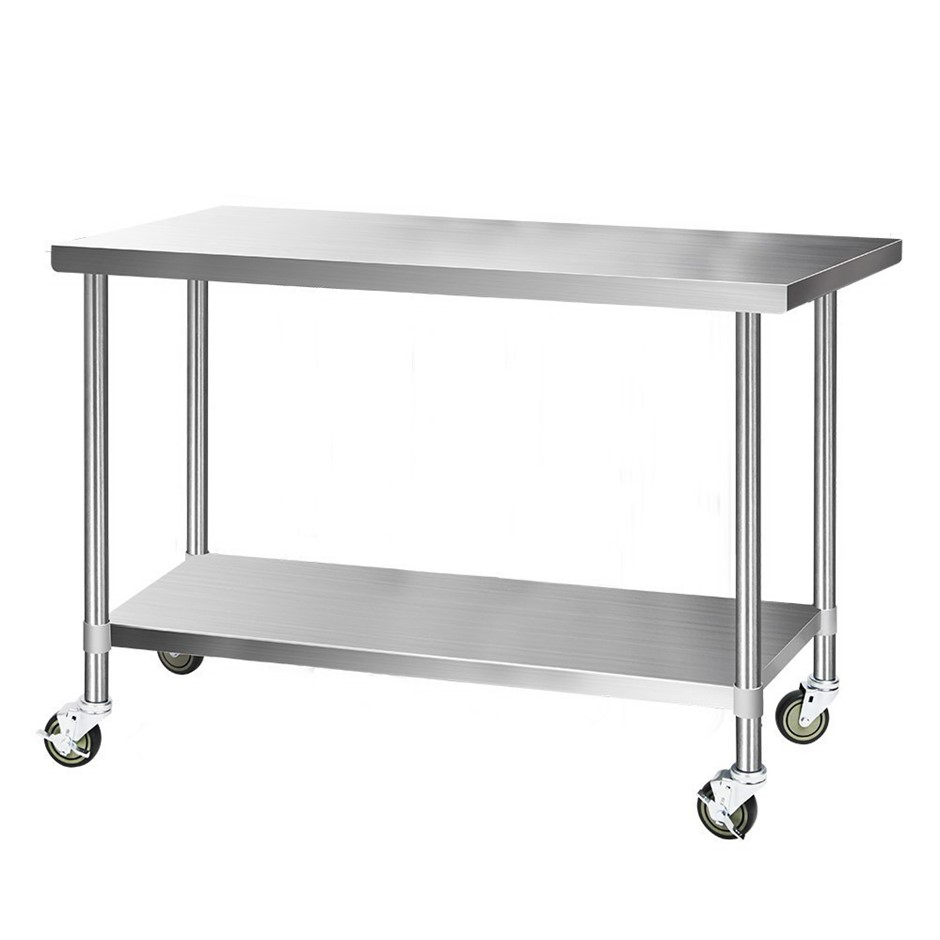 Cefito 1524x760mm Commercial Stainless Steel Bench Prep Table w/ wheels