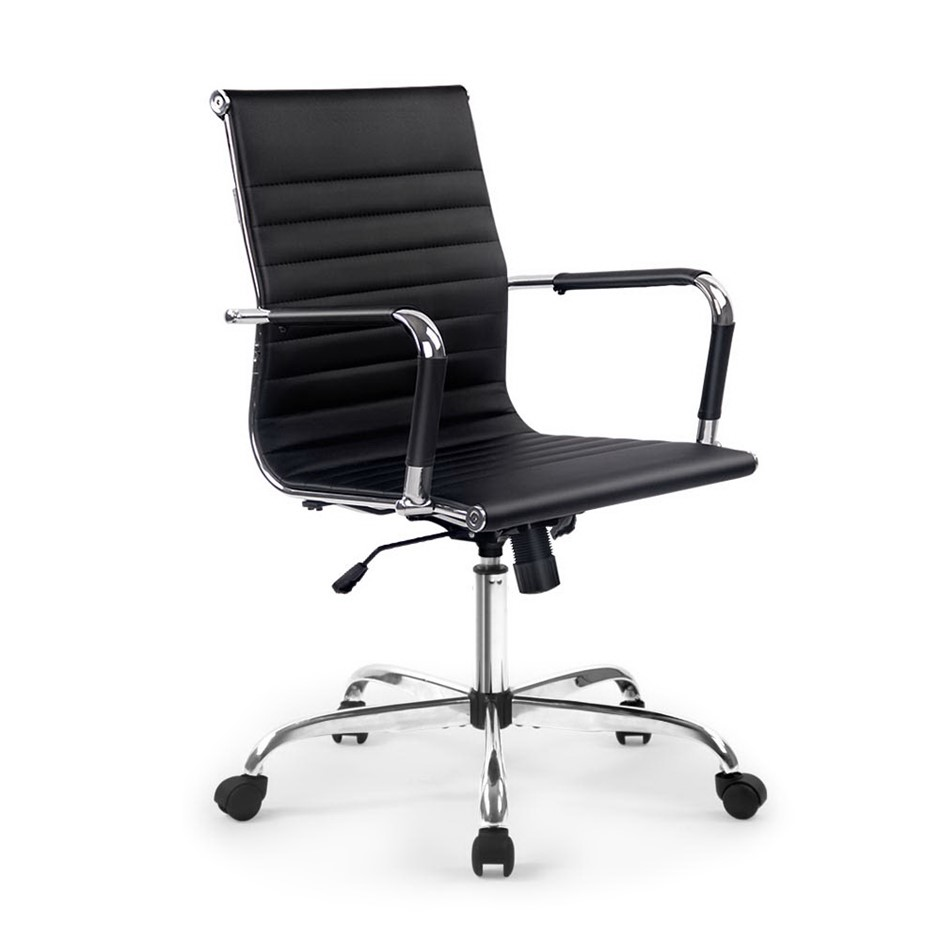 Artiss Eames Replica Premium PU Leather Office Chair Computer Black