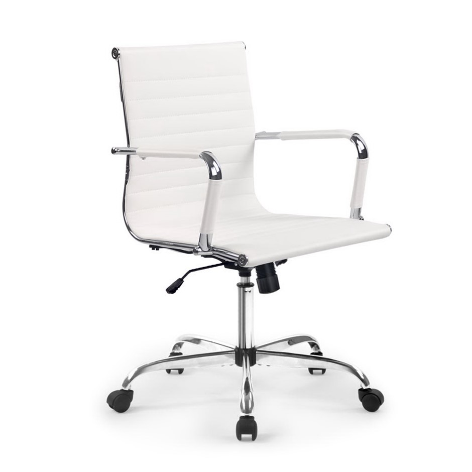 Artiss Eames Replica Premium PU Leather Office Chair Computer White
