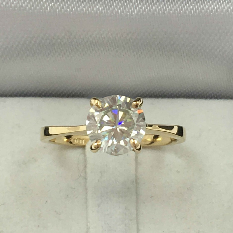 18ct Yellow Gold, Moissanite Engagement Ring
