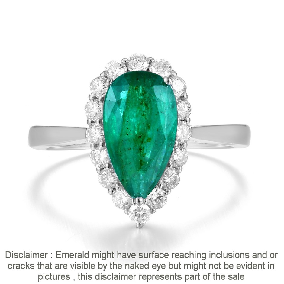 18ct White Gold, 1.91ct Emerald and Diamond Ring