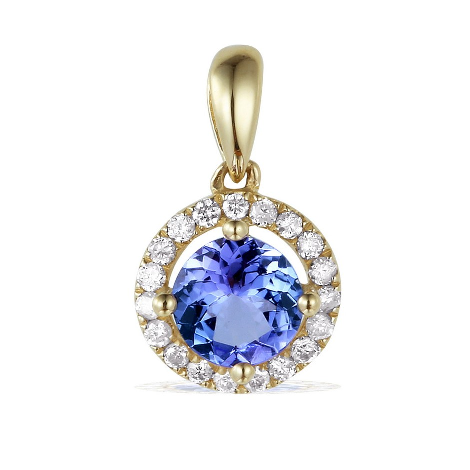 9ct Yellow Gold, 2.90ct Tanzanite and Diamond Pendant