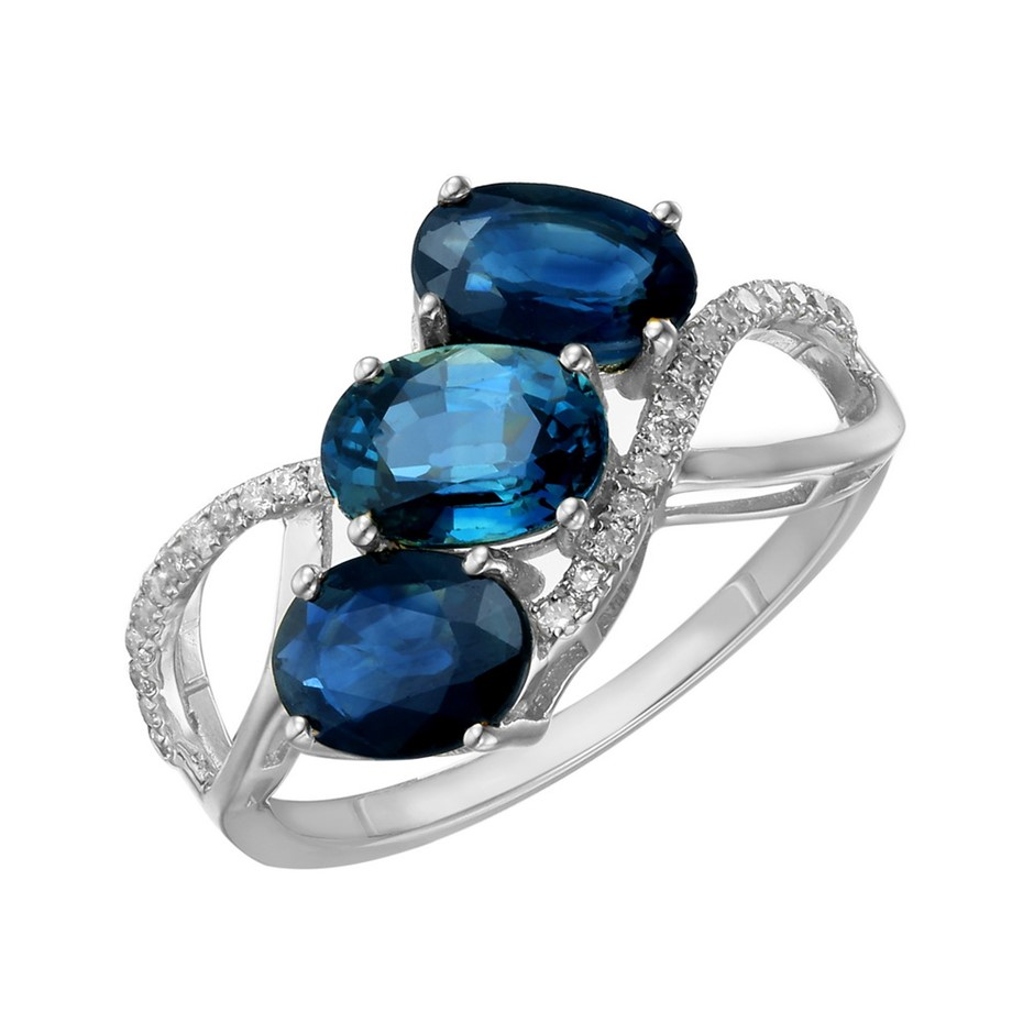 9ct White Gold, 2.95ct Blue Sapphire and Diamond Ring
