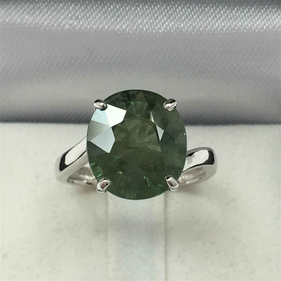 18ct White Gold, 6.70ct Green Sapphire Ring
