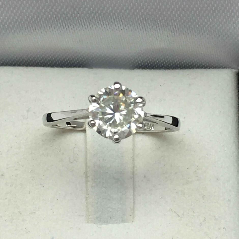 18ct White Gold, 1.28ct Moissanite Engagement Ring