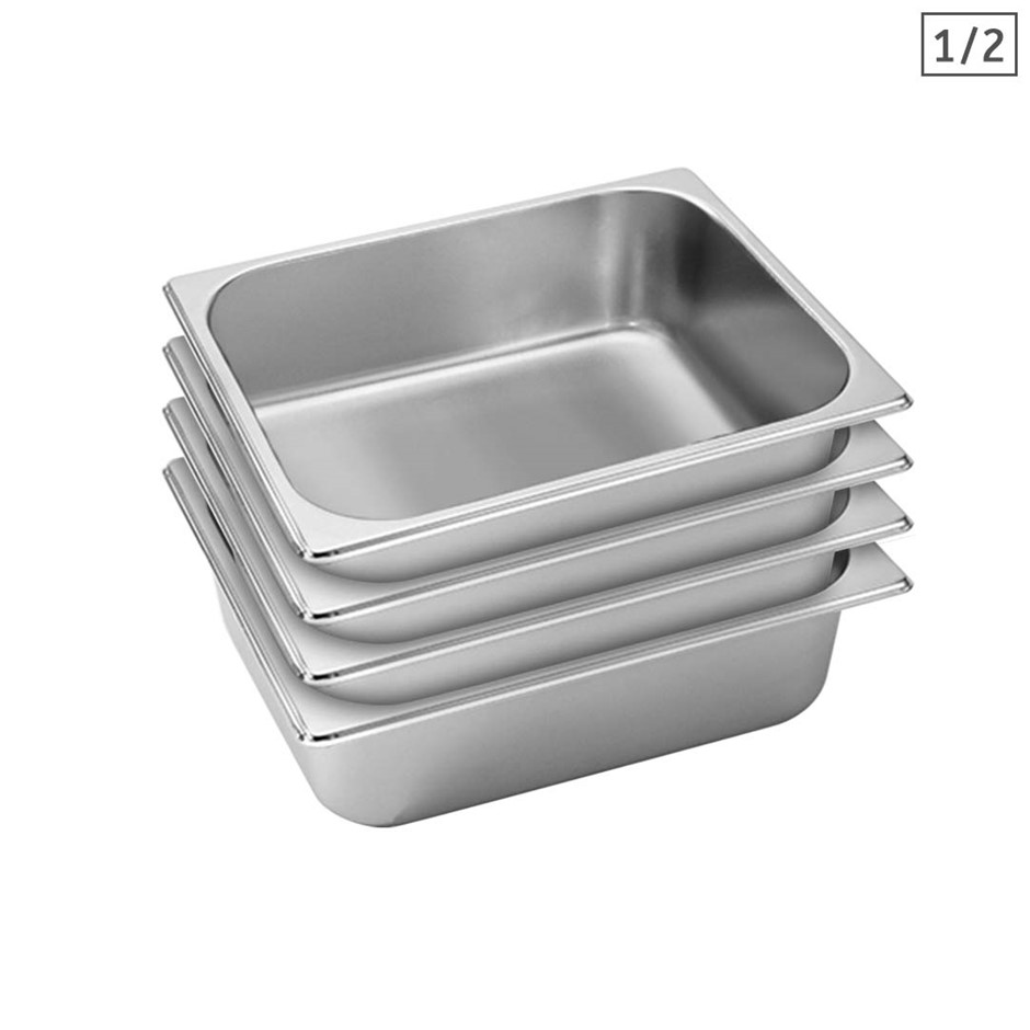 SOGA 4X Gastronorm GN Pan Full Size 1/2 GN Pan 10cm Stainless Steel Tray