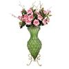 SOGA 67cm Green Glass Floor Vase and 12pcs Pink Artificial Fake Flower Set