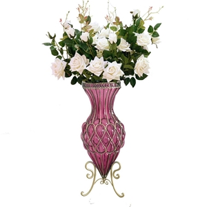 SOGA 67cm Purple Glass Floor Vase and 12