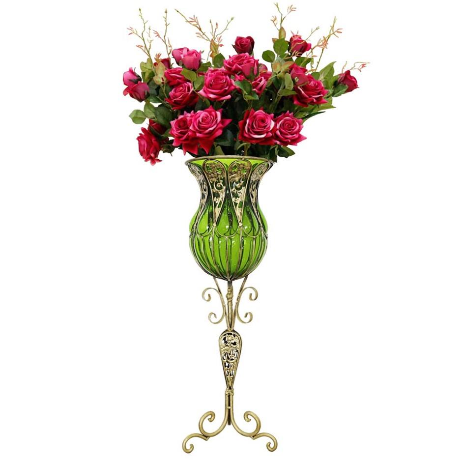 SOGA 85cm Green Glass Floor Vase and 12pcs Red Artificial Fake Flower Set