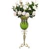 SOGA 85cm Green Glass Floor Vase and 12pcs White Artificial Fake Flower Set