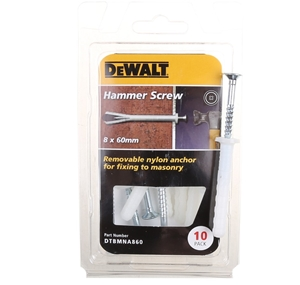 5 Packs of DeWALT Pack of 10 Hammer Scre