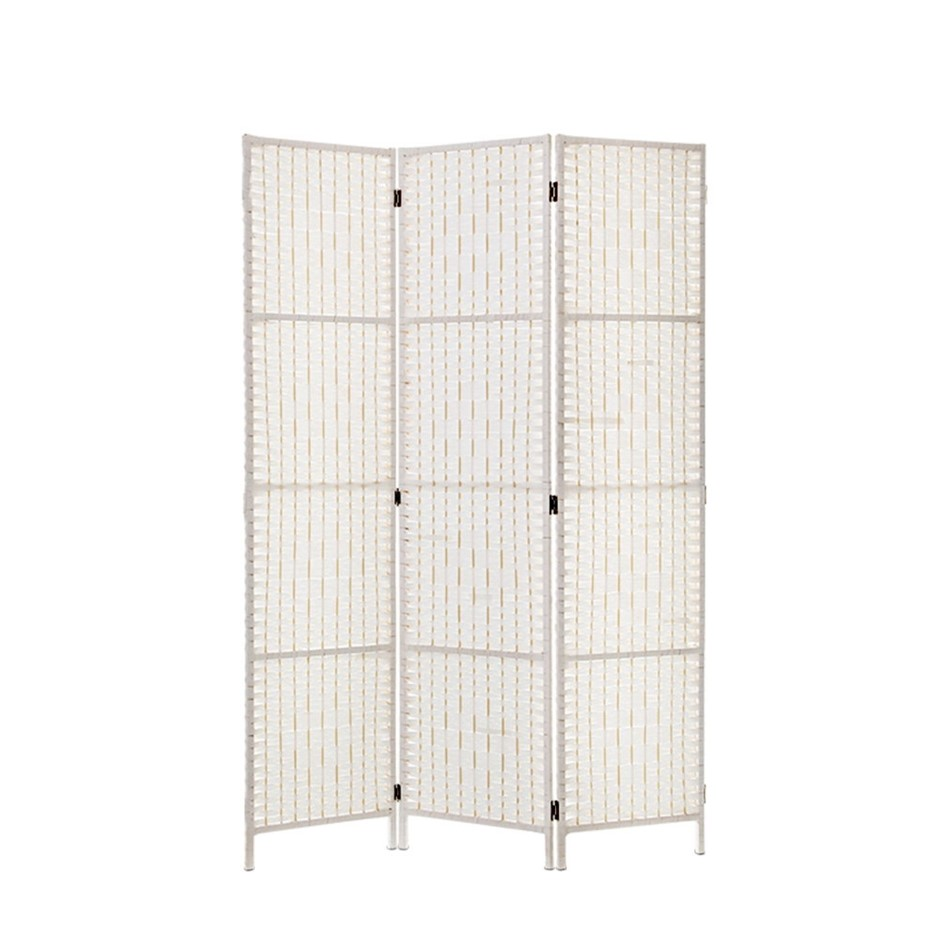 Artiss 3 Panels Room Divider Screen Privacy Rattan Timber Fold Woven White