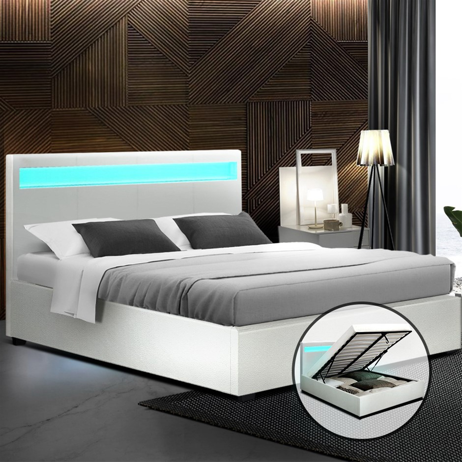 Artiss LED Bed Frame Double Size Gas Lift Base With Storage White Leather
