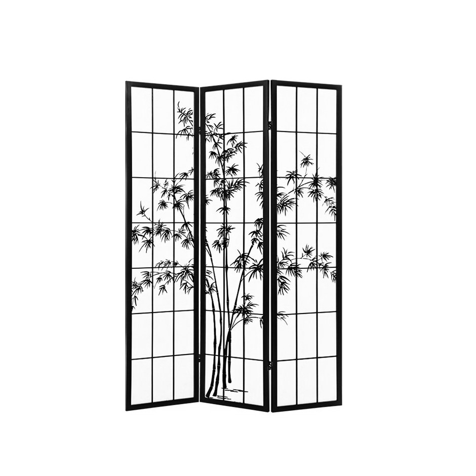 Artiss 3 Panel Room Divider Screen Dividers Pine Wood Bamboo Black White