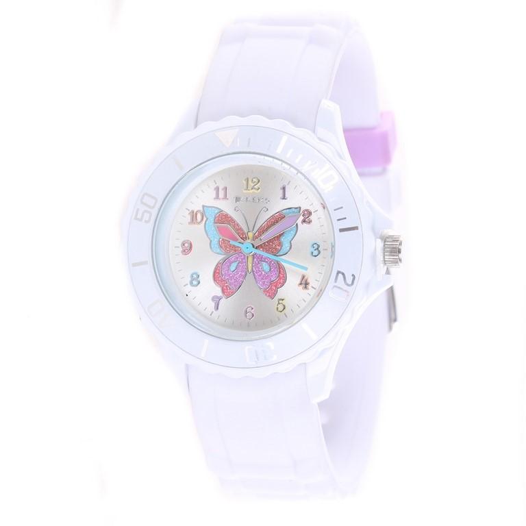TIKKERS Girl`s Analogue Classic Quartz Wrist Watch, Butterfly Theme w/ Stai