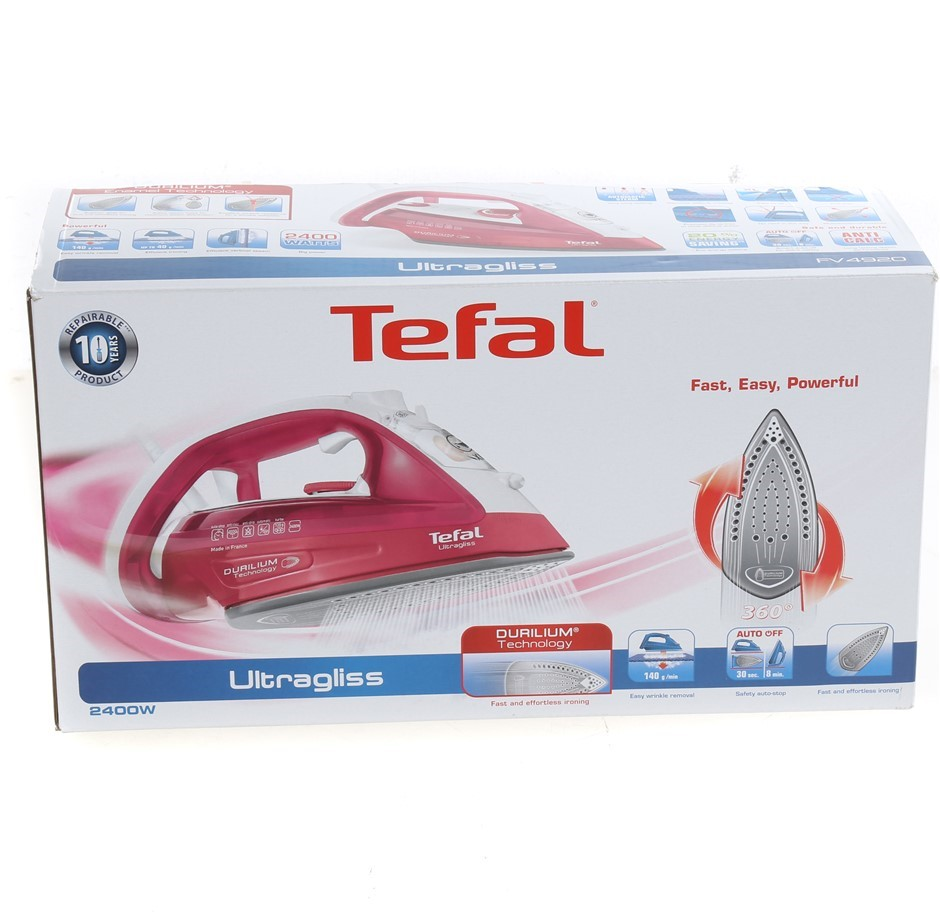TEFAL Ultragliss FV4920 Steam Iron, 2400W, Red. N.B Has been used. Conditio