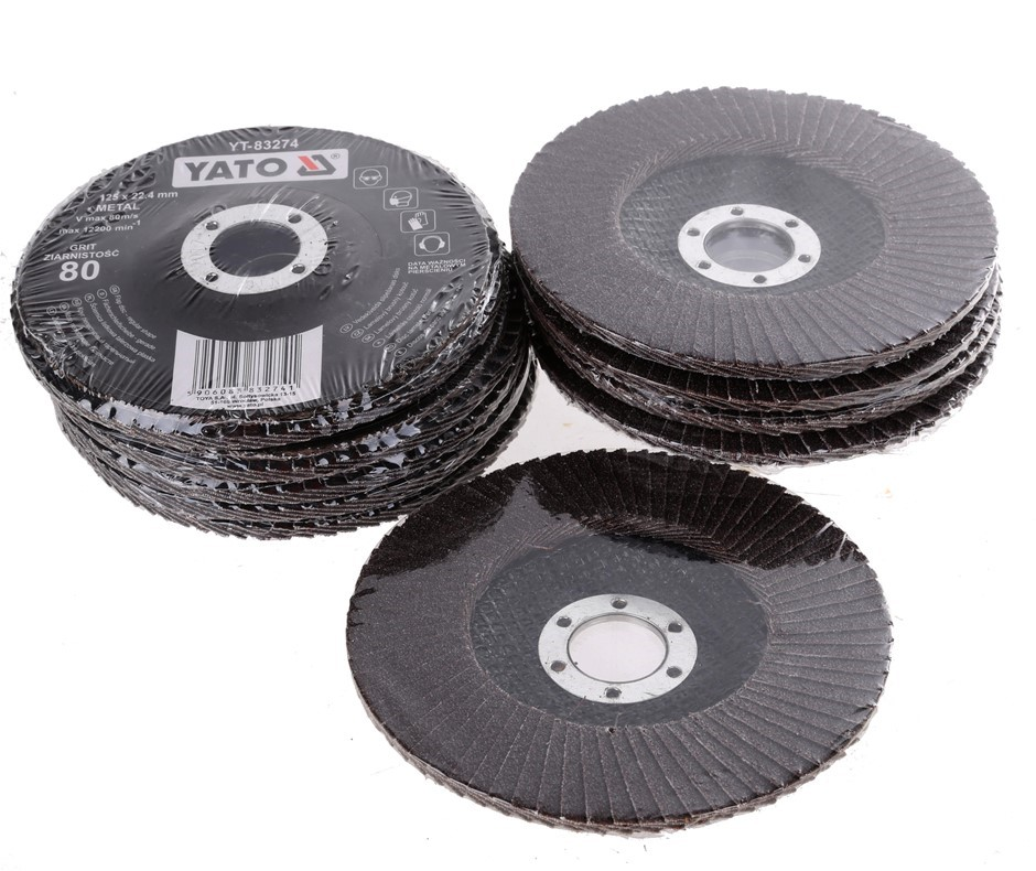 10 x YATO Flap Discs 125 x 22.4mm, Grit 80. Buyers Note - Discount Freight
