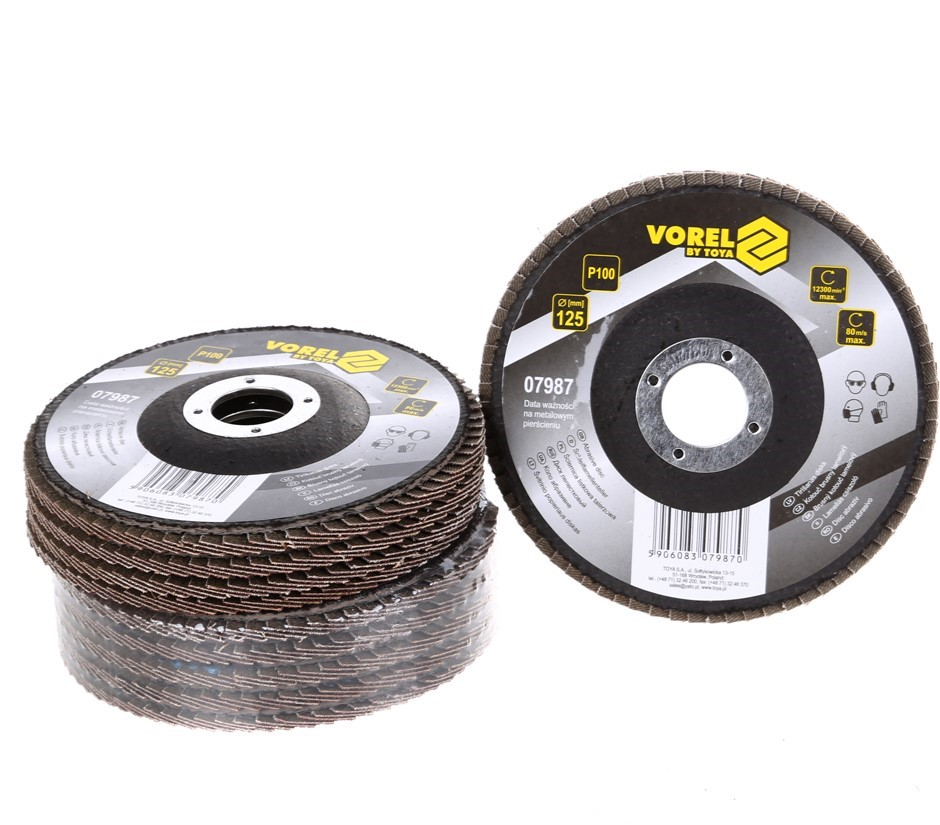 10 x VOREL Flap Discs 125mm, Grit P100. Buyers Note - Discount Freight Rate