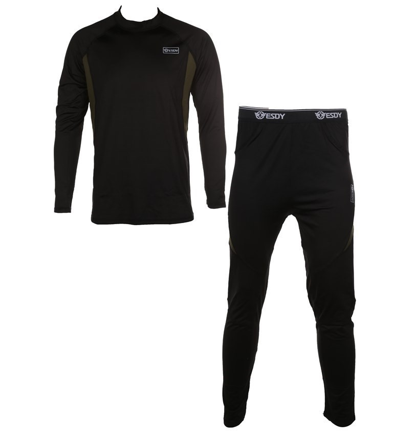 Thermal Military Underwear Top & Bottom Compression Style, Size XL, Black.
