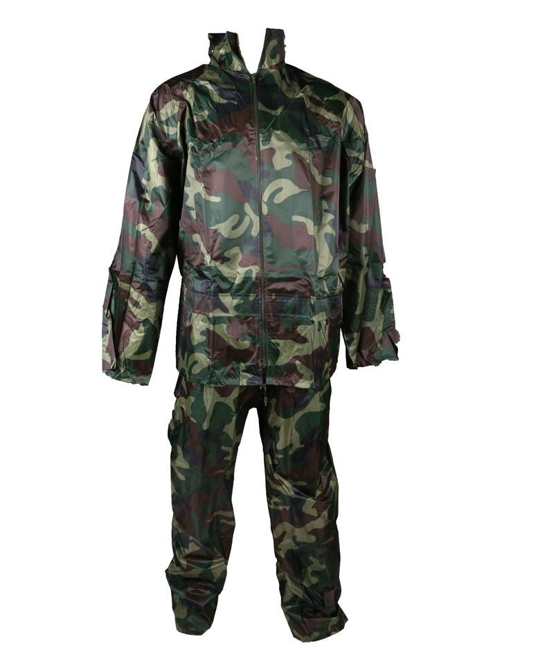 Military Style Rain Suit, Size L, Jacket with Zip Front Closure, 2 x Concea