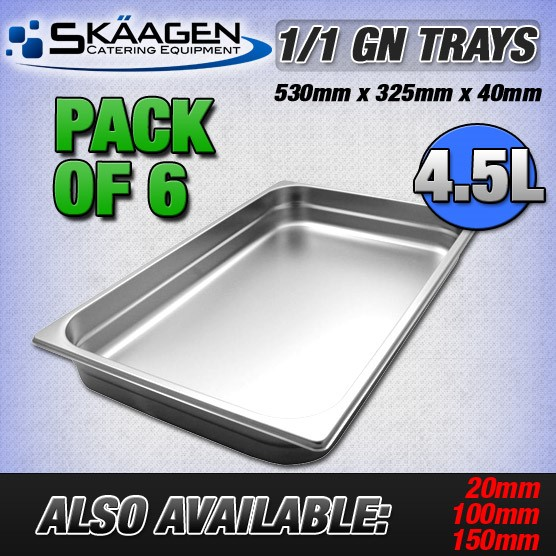 Unused 1/1 Gastronorm Trays 40mm - 6 Pack