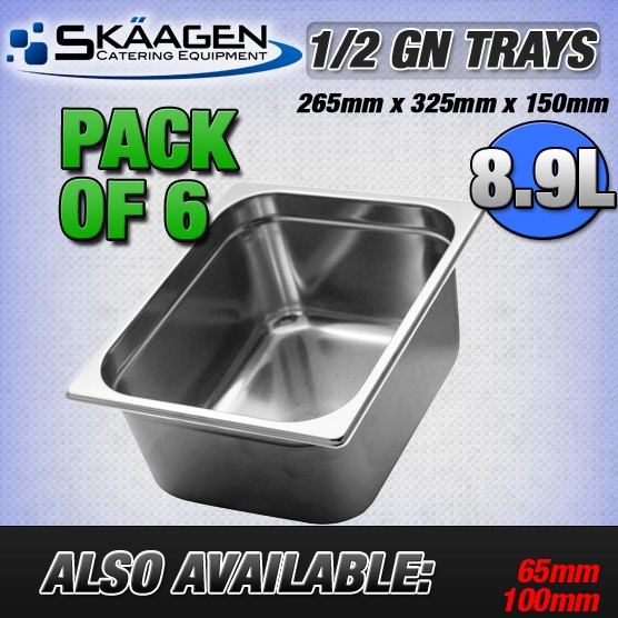 Unused 1/2 Gastronorm Trays 150mm - 6 Pack
