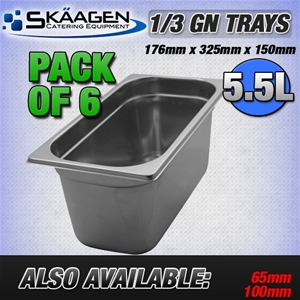 Unused 1/3 Gastronorm Trays 150mm - 6 Pa