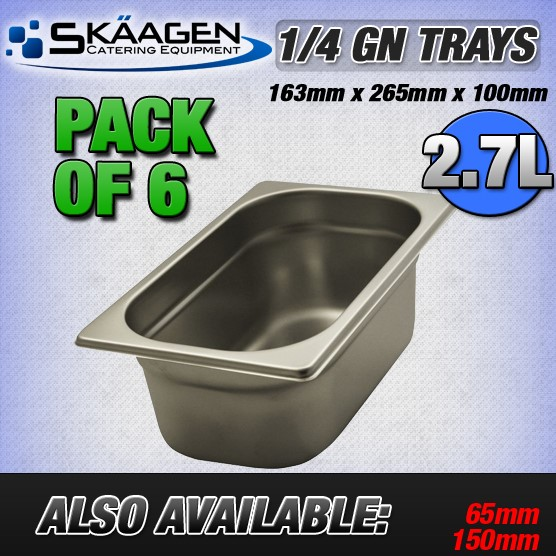 Unused 1/4 Gastronorm Trays 100mm - 6 Pack