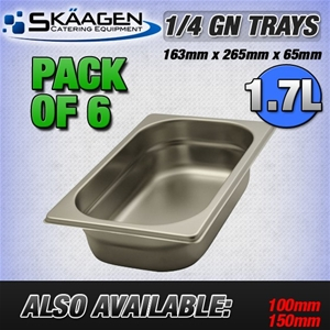 Unused 1/4 Gastronorm Trays 65mm - 6 Pac