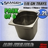 Unused 1/6 Gastronorm Trays 150mm - 6 Pack