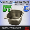 Unused 1/6 Gastronorm Trays 100mm - 6 Pack