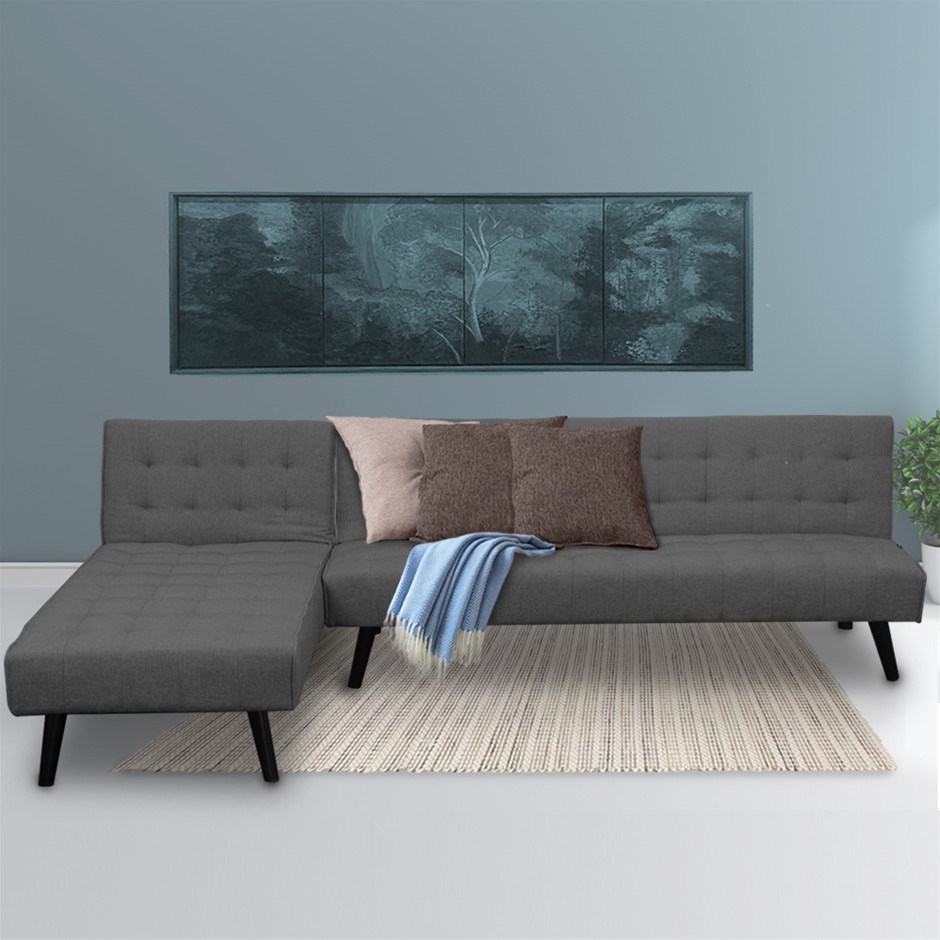 Corner Sofa Linen Lounge Chaise Couch L-shaped Modular Furniture Dark Grey