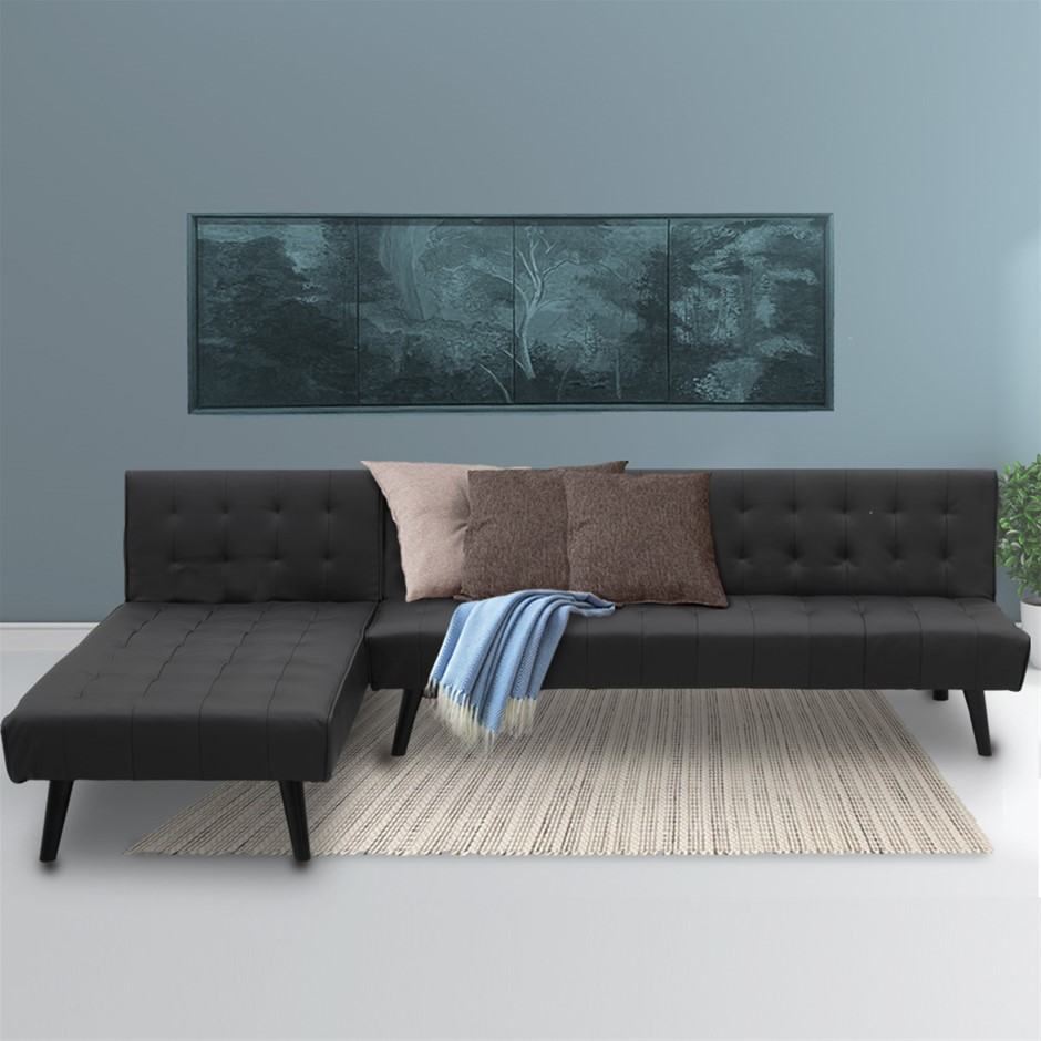 Sarantino Corner Sofa Bed PU Leather Lounge Chaise L-shaped Modular Black