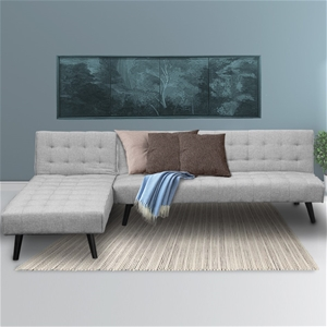 Corner Sofa Linen Lounge Chaise Couch L-