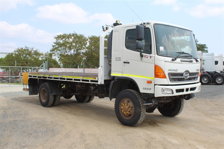 2010 Hino GT T/Diesel 4 x 4 Tray Body Truck 108,518km (Ex Corp)