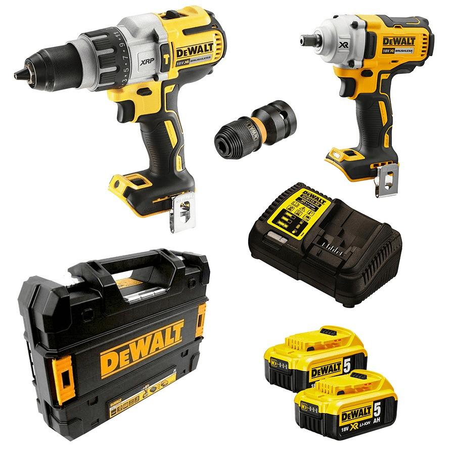 DeWALT 2pc 18V Brushless Drill Kit Comprising Hammer Drill, Impact Wrench,