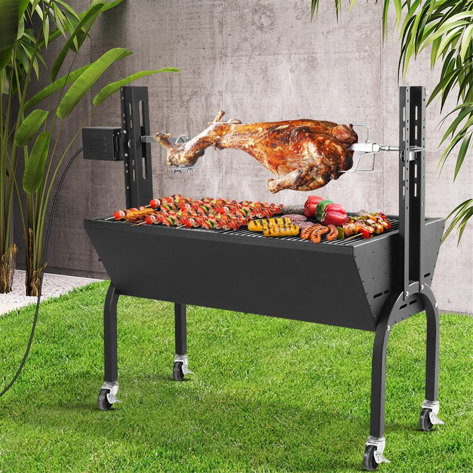 Grillz Electric Rotisserie BBQ Charcoal Smoker Grill Spit Roaster Burner