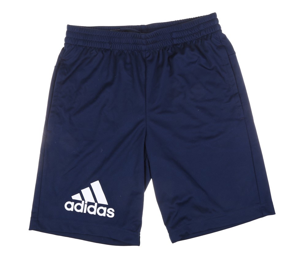 ADIDAS Boy`s Shorts, Size 11-12y.o, 100% Polyester, Navy. Buyers Note - Dis