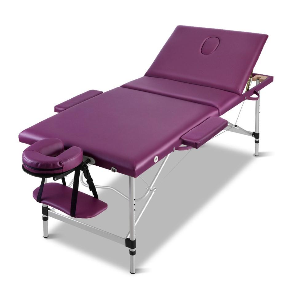 Zenses 75cm Portable 3 Fold Aluminium Massage Table Beauty Therapy Bed