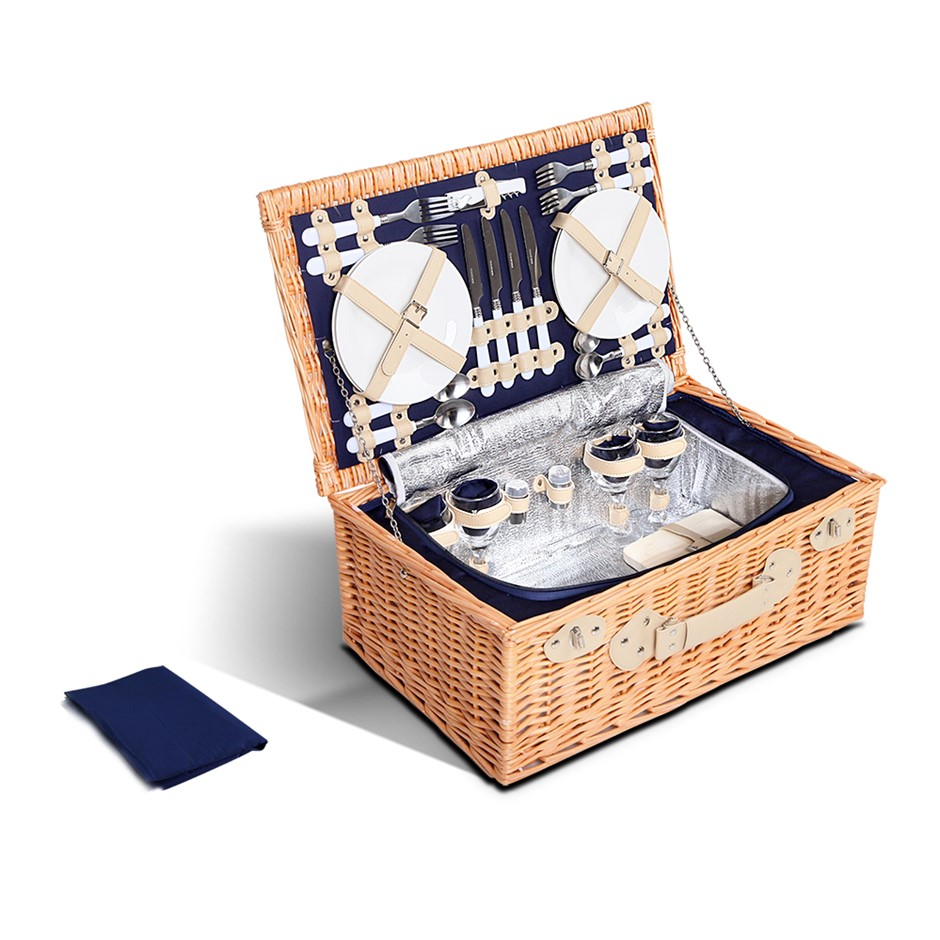 Alfresco 4 Person Picnic Basket with Cooler Bag - Blue