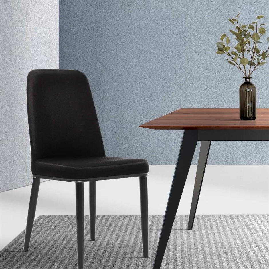 Artiss Dining Chairs Replica Chair Black Fabric Padded Retro Iron Leg x2