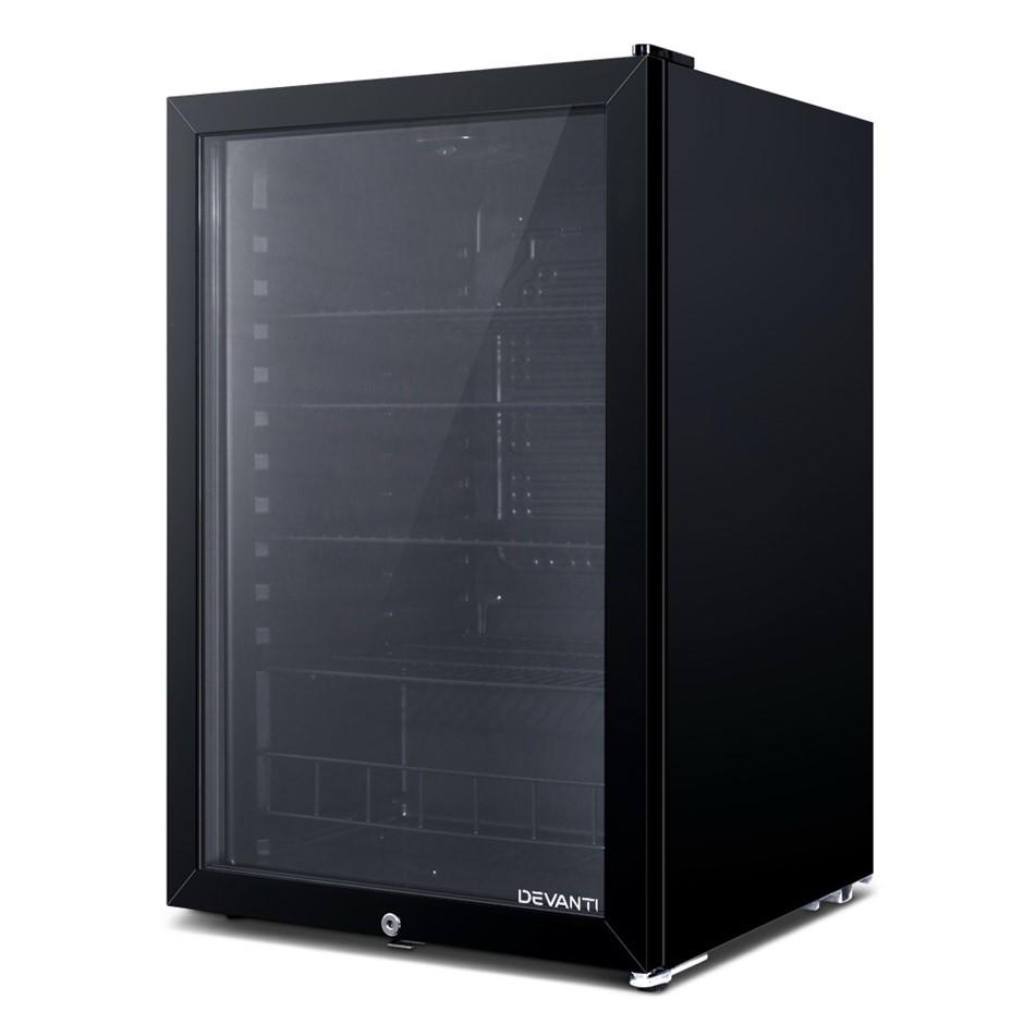 Devanti Bar Fridge Glass Door Mini Freezer Fridges 115L Countertop Beverage