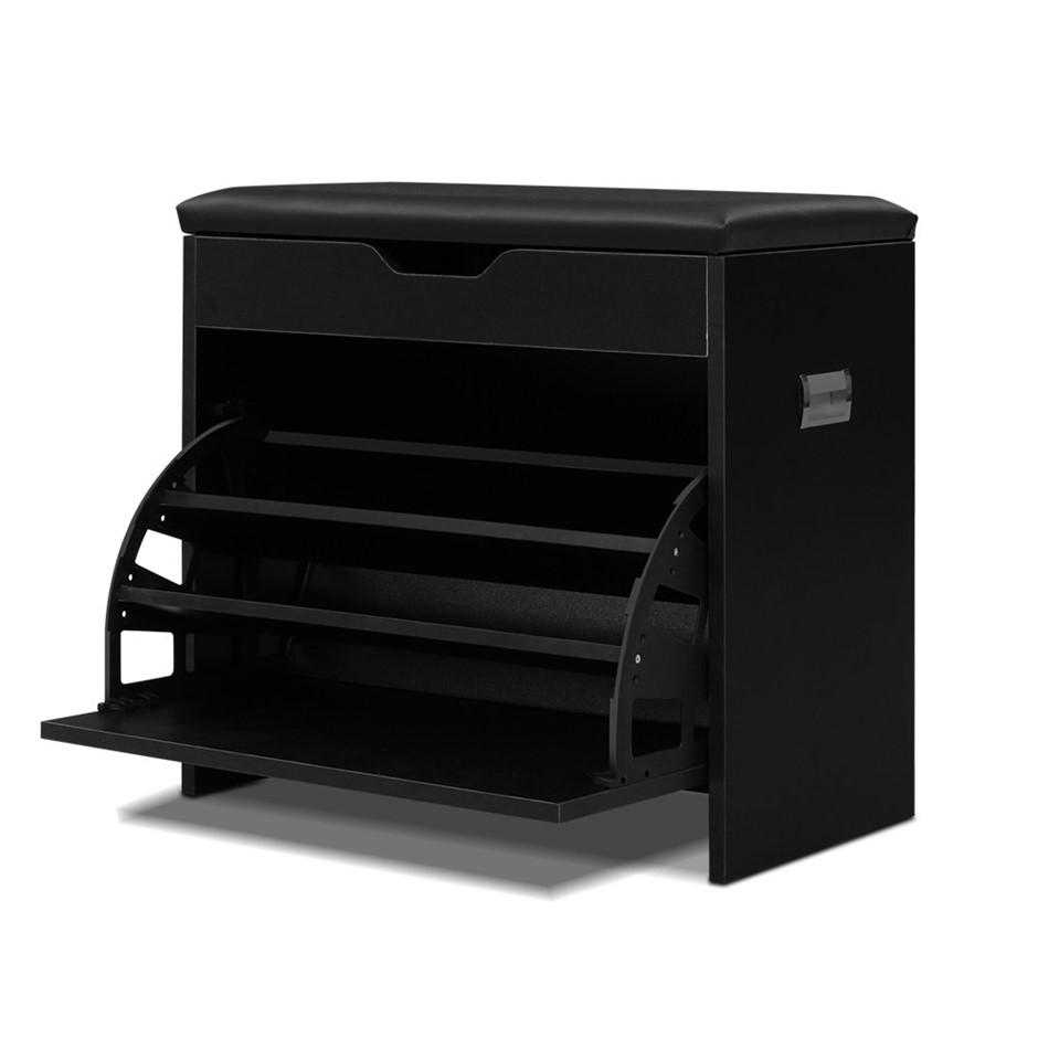Artiss Shoe Cabinet Bench Shoes Storage Rack Organiser Shelf Black 15 Pairs