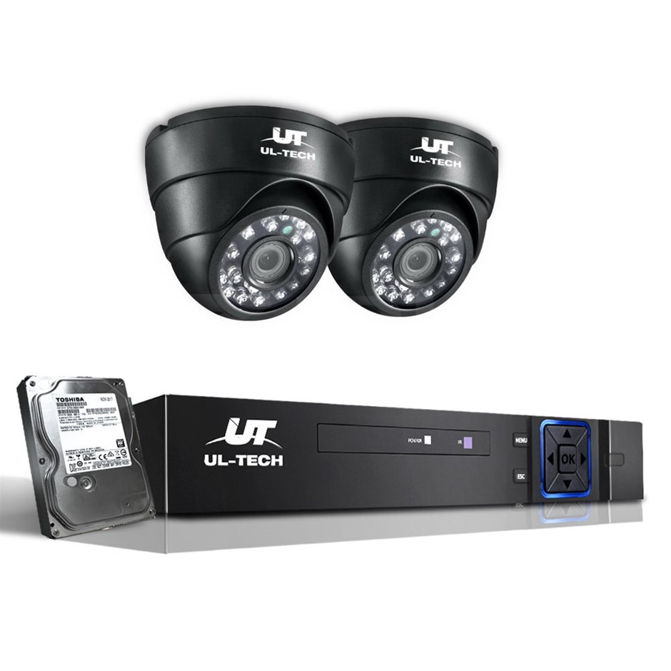 UL Tech CCTV Security System 2TB 4CH DVR 1080P 2 Camera Sets