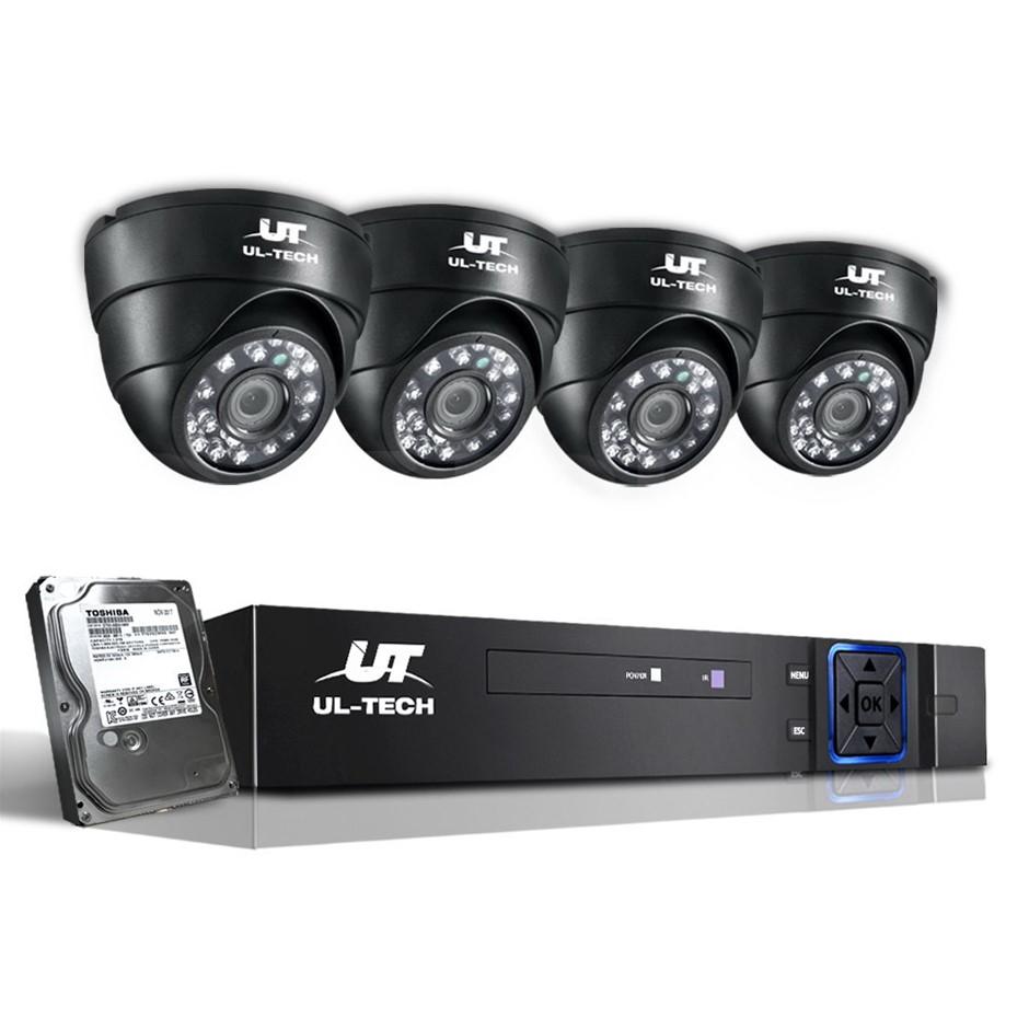 UL Tech CCTV Security System 2TB 4CH DVR 1080P 4 Camera Sets
