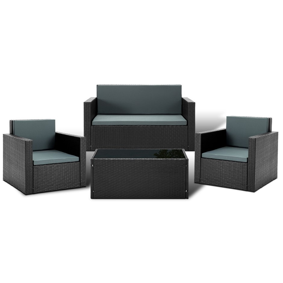 Gardeon Patio Furniture Sofa Set Outdoor Lounge Setting Aluminum Wicker