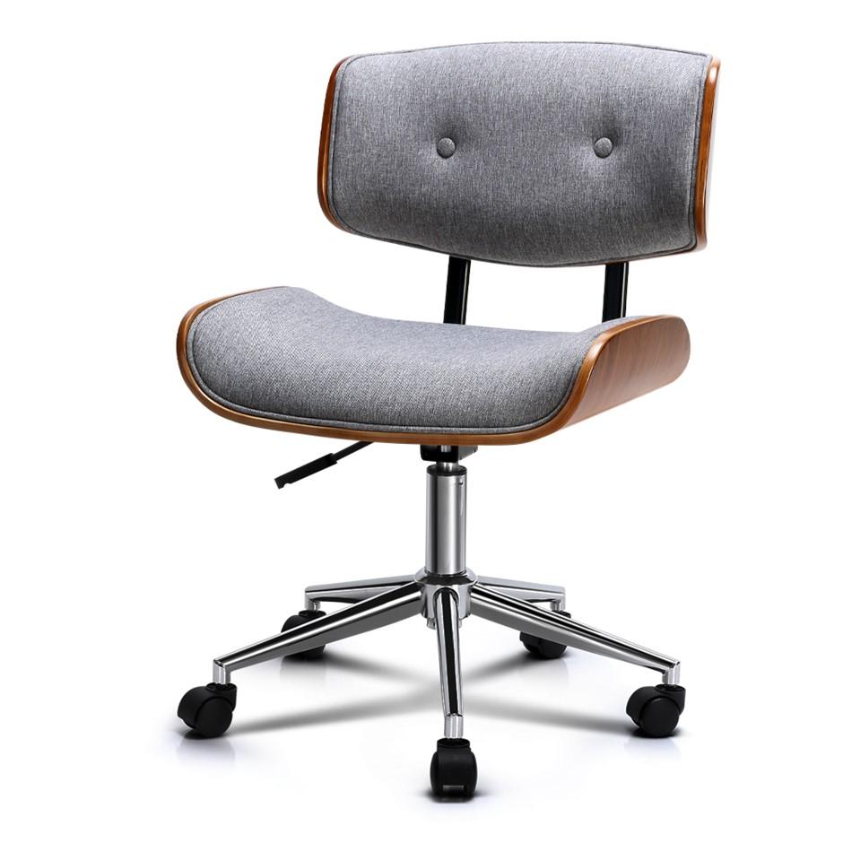 Artiss Executive Wooden Office Chair Fabric Computer Bentwood Seat Grey