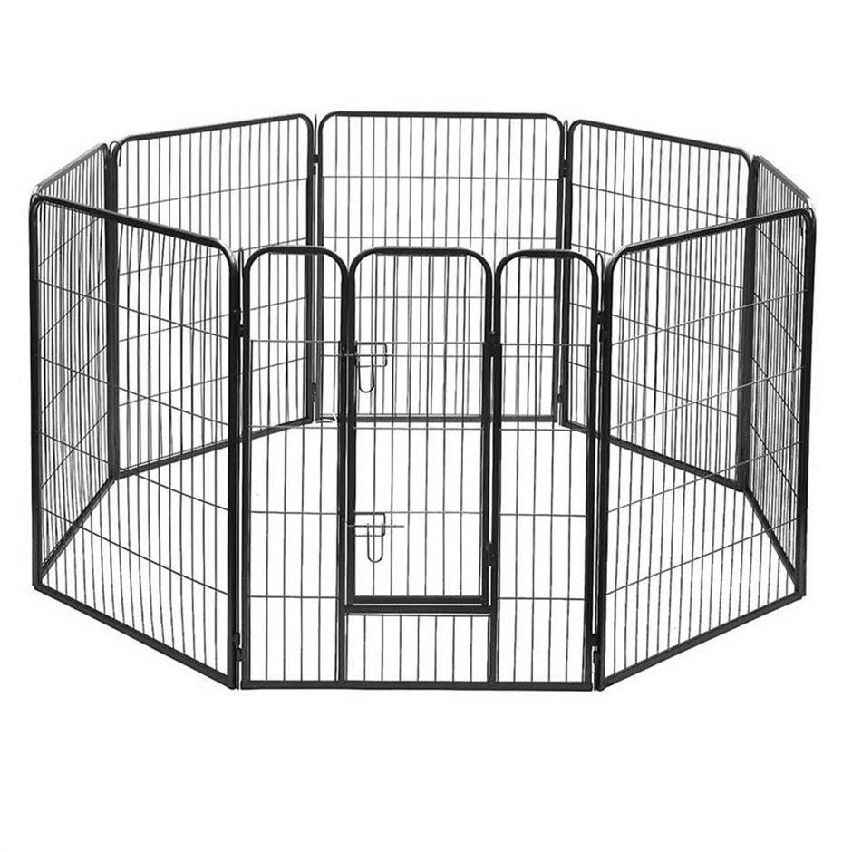 i.Pet 8 Panel Portable Pet Playpen - Black