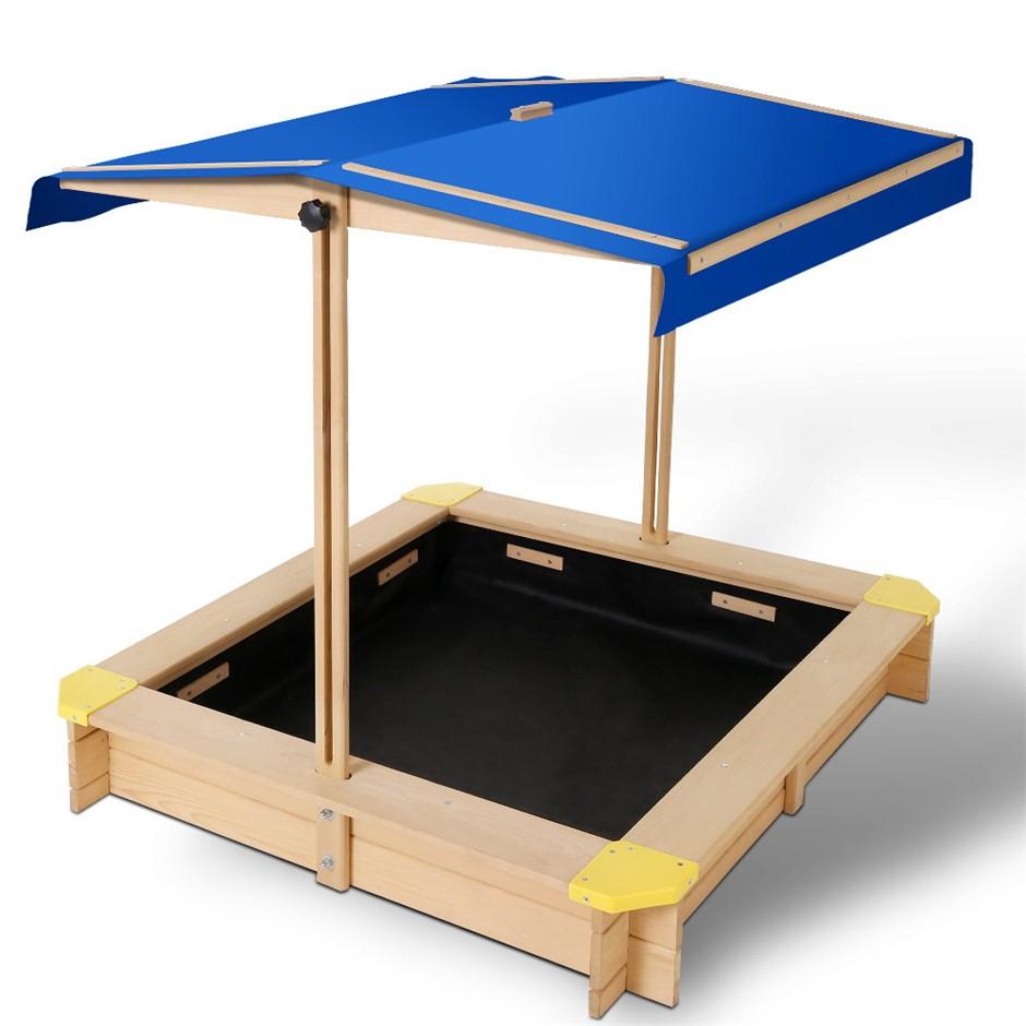 Keezi Wooden Outdoor Sand Box Set - Natural Wood