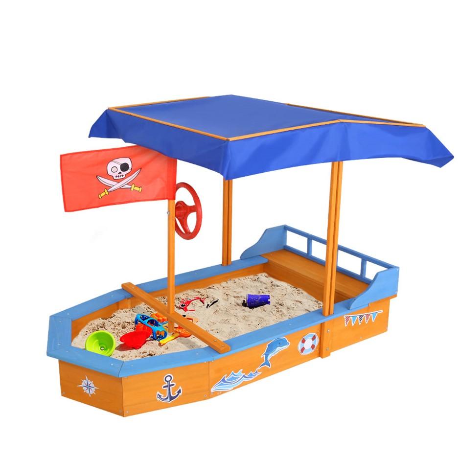 Keezi Boat-Shaped Canopy Sand Pit